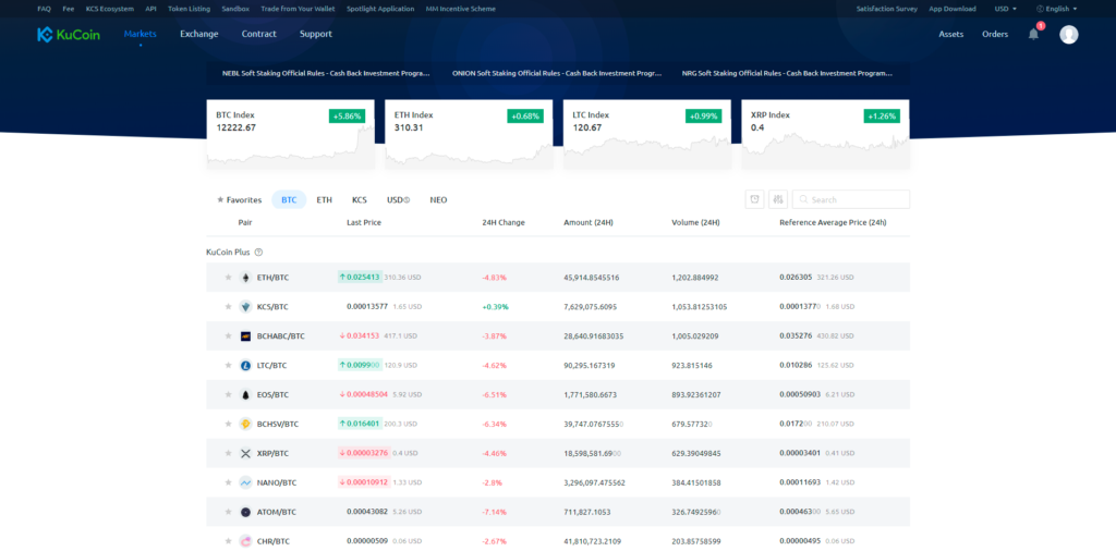 KuCoin assets list page