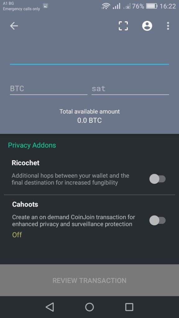 samourai wallet transaction