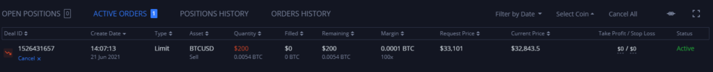 Limit order results in active order that you can see in the dashboard on Margex